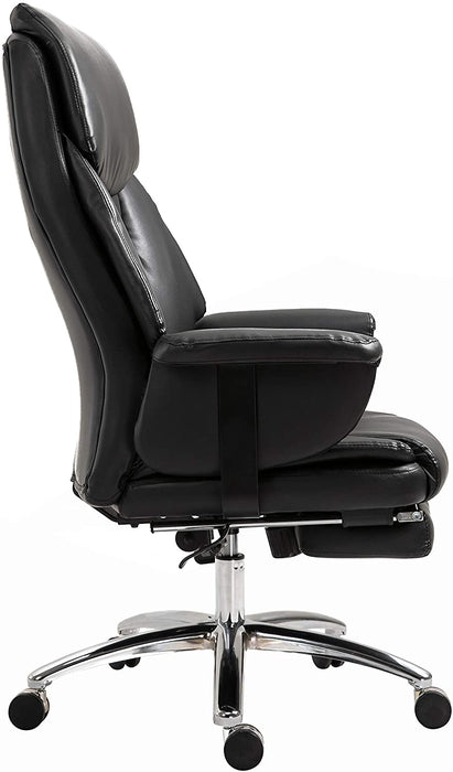 Abraham Wingback Style Office Chair with Footrest in Black PU Leather 4