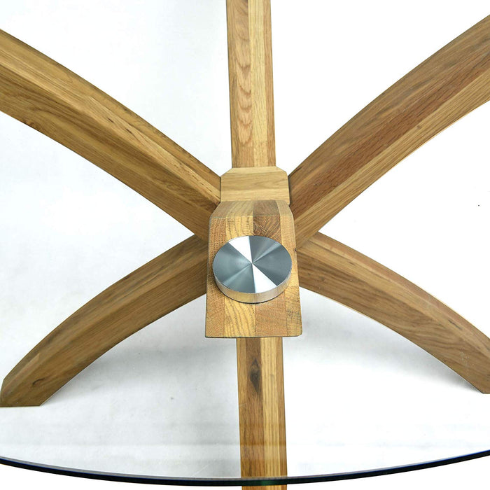 LUGANO Round Glass Top Solid Oak Legs Dining Table 5