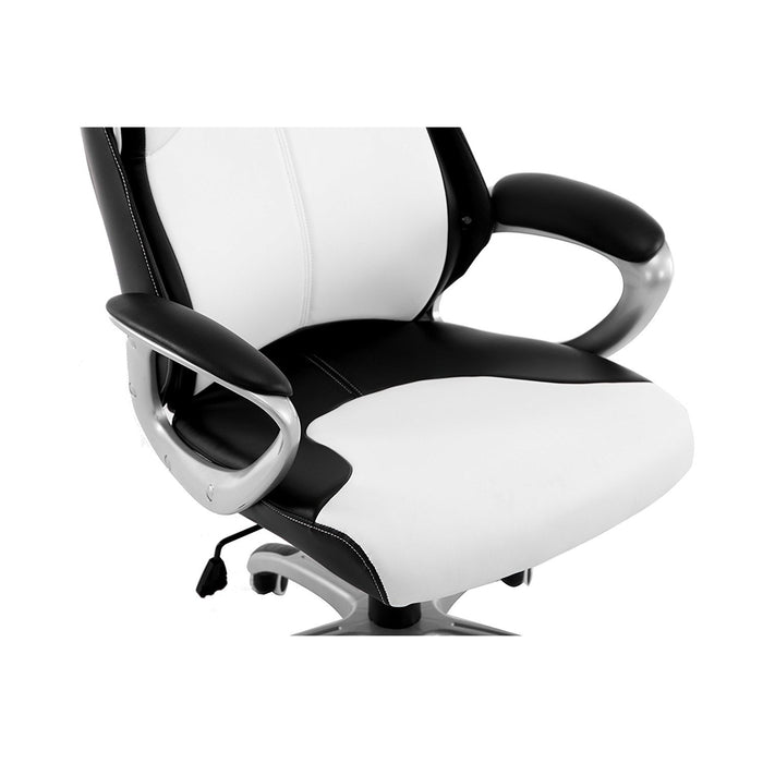extra padded pu leather executive swivel office chair with padded headrest white