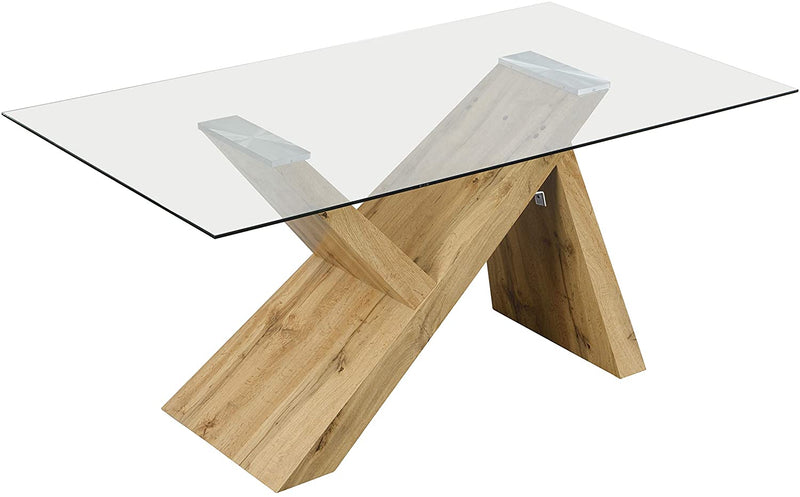 Orillia Oak Effect 160 cm Dining Table  with Clear Glass Top 3