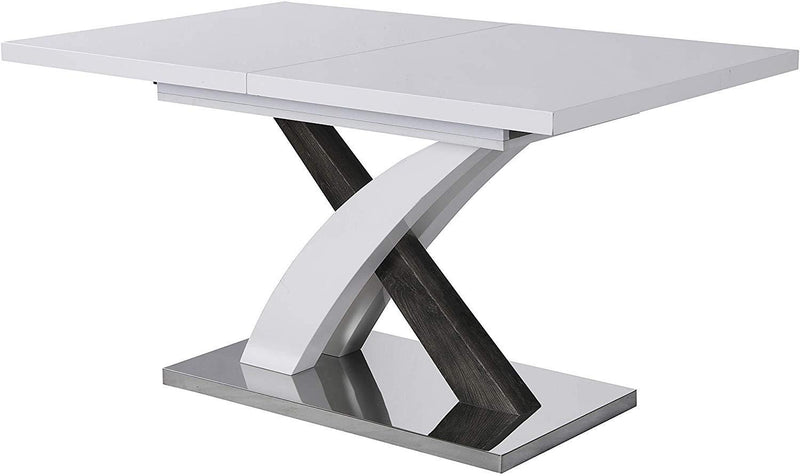BASEL High Gloss White Extendable Dining Table 6 to 8-Seater with Stainless Steel Base 3
