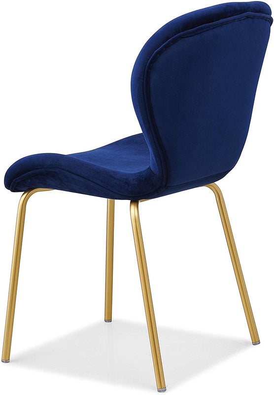 Set of 2 Fernie Blue Velvet Dining Chairs with Golden Metal Legs 6