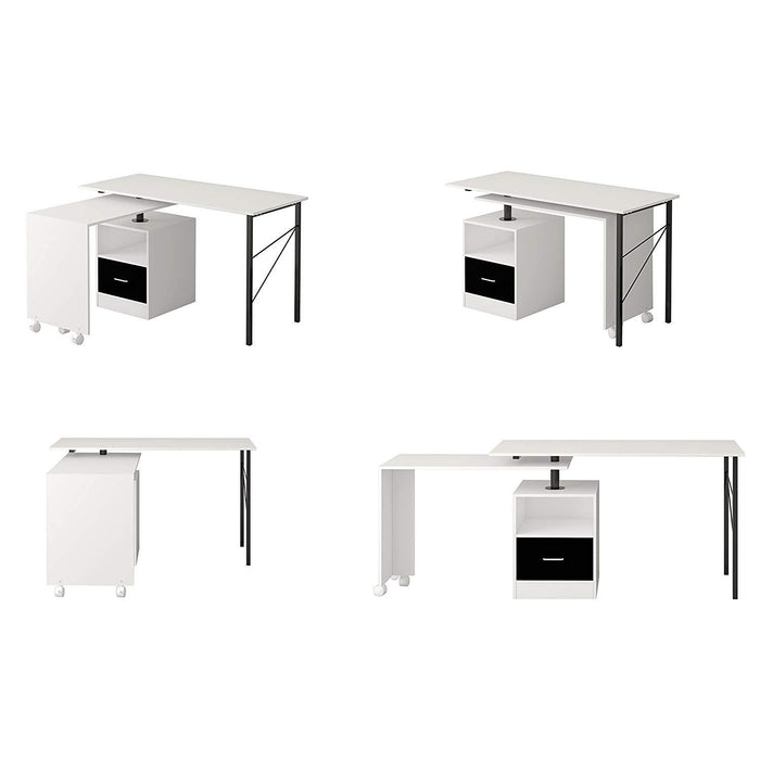 l shaped extending computer workstation corner desk with storage white
