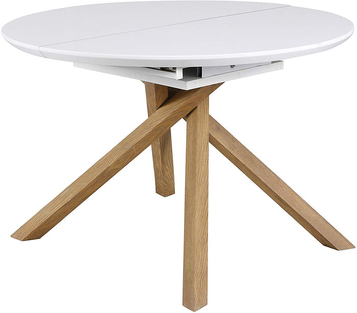 GRENCHEN Round to Oval 4 to 6-Seater White High Gloss Extendable Dining Table 5
