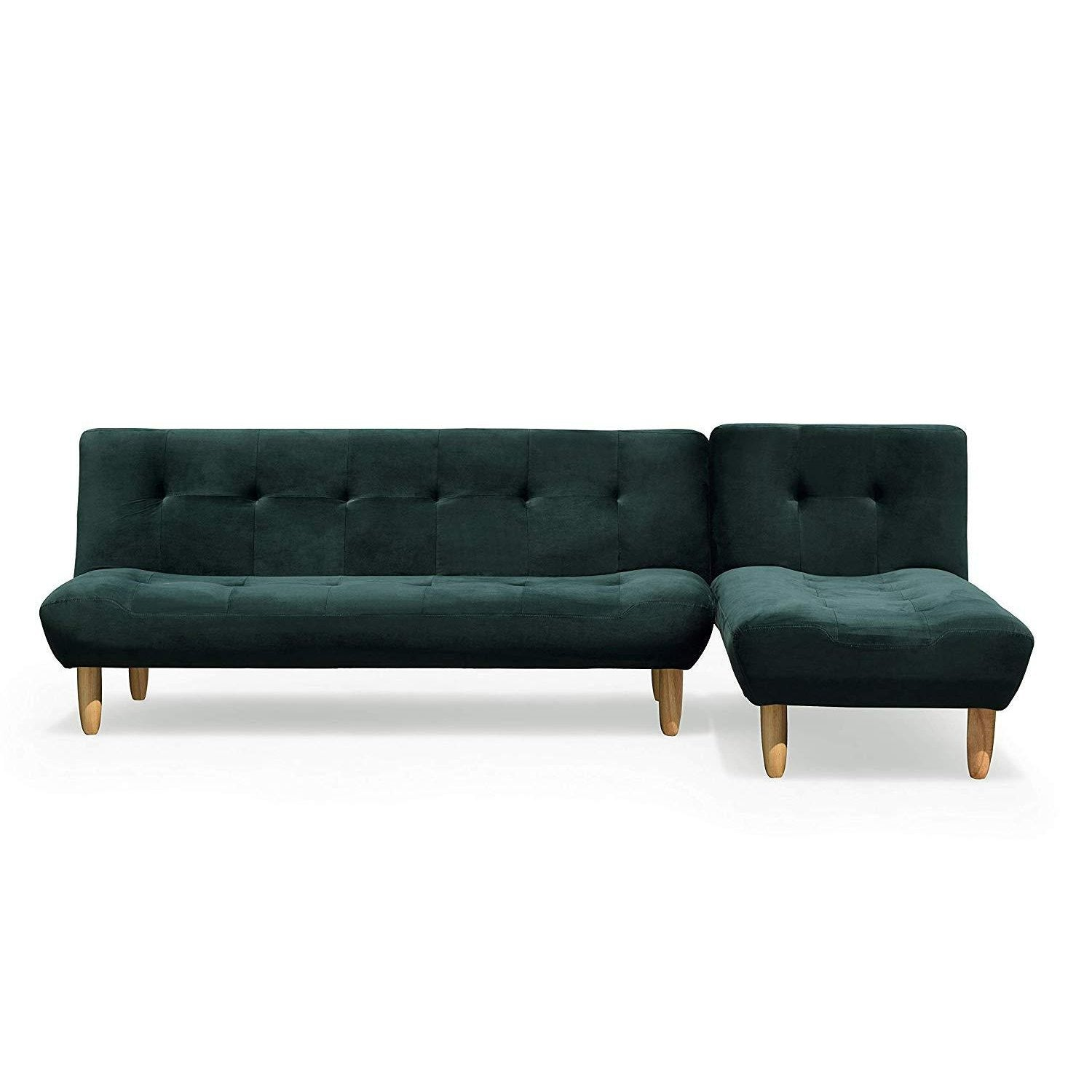 2+1 Modular Sofa Bed Settee with Chaise Lounge, L-shaped 3-Seater Corner Sofa Bed (Dark Green Velvet)