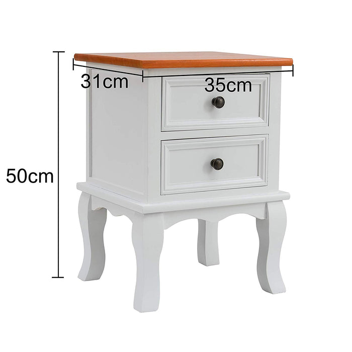 wood bedside table 2 drawer cabinet two toned finish