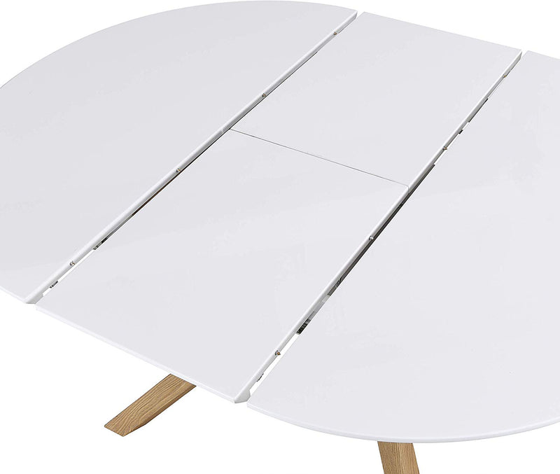 GRENCHEN Round to Oval 4 to 6-Seater White High Gloss Extendable Dining Table 6