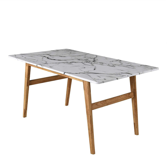 ASCONA White Marble Effect 6-Seater Dining Table with Solid Oak Legs 3