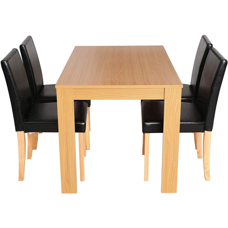 Cherry Tree Furniture 5 Piece Dining Room Set 4 Seater Dining Table with 4 Chairs, Beech Colour Table with Black PU Leather Seats