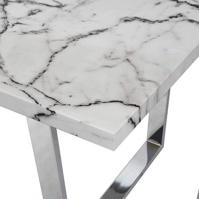 BIASCA 6-Seater High Gloss Marble Effect Dining Table with Silver Chrome Legs White 6