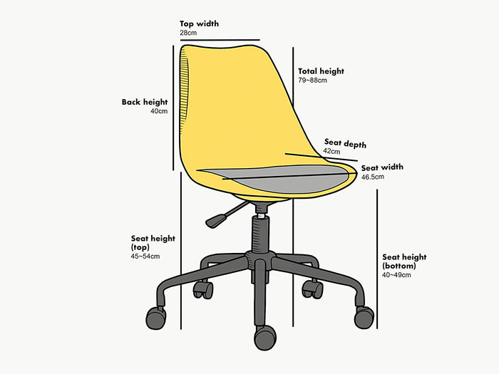 Gerri Swivel Office Chair with Upholstered Seat Yellow 5