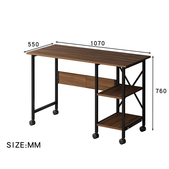 2-IN-1 Extending Computer Desk Workstation Table with Storage Shelf & Rolling Castors, Walnut