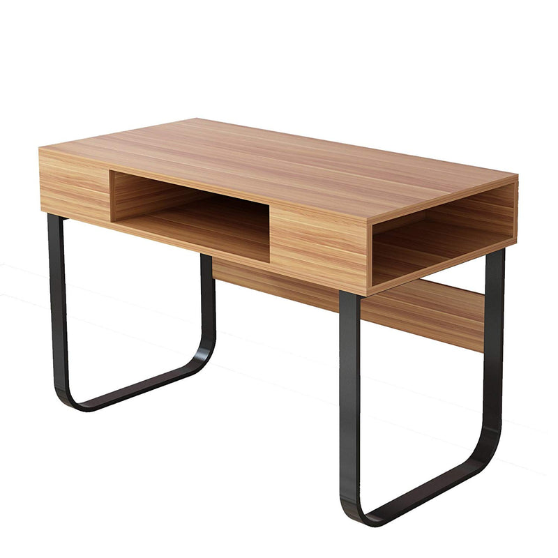 oak colour desk with black u shaped legs storage compartments