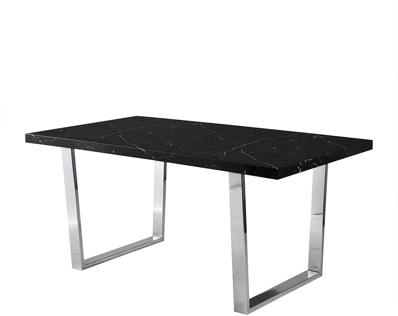 BIASCA 6-Seater High Gloss Marble Effect Dining Table with Silver Chrome Legs Black 4