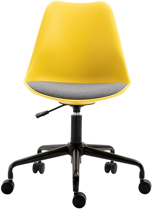 Gerri Swivel Office Chair with Upholstered Seat Yellow 2