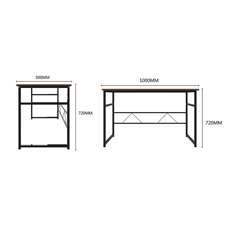 sleek design computer desk home office table 100 x 50 x 72 cm walnut