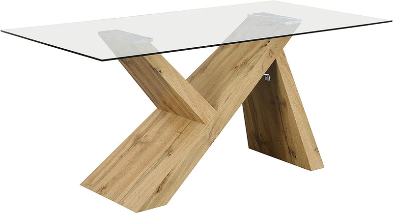 Orillia Oak Effect 160 cm Dining Table  with Clear Glass Top 2