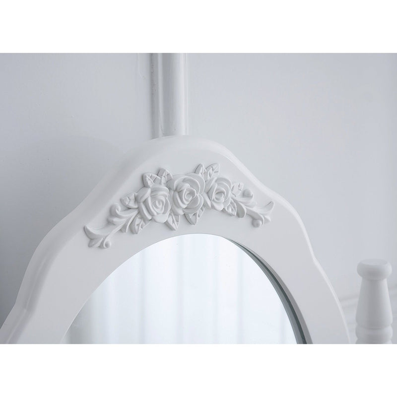 4 drawer vanity dressing table set with stool oval mirror white