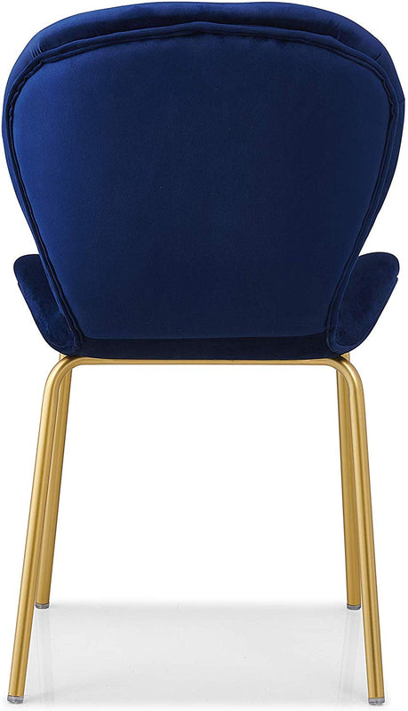 Set of 2 Fernie Blue Velvet Dining Chairs with Golden Metal Legs 7