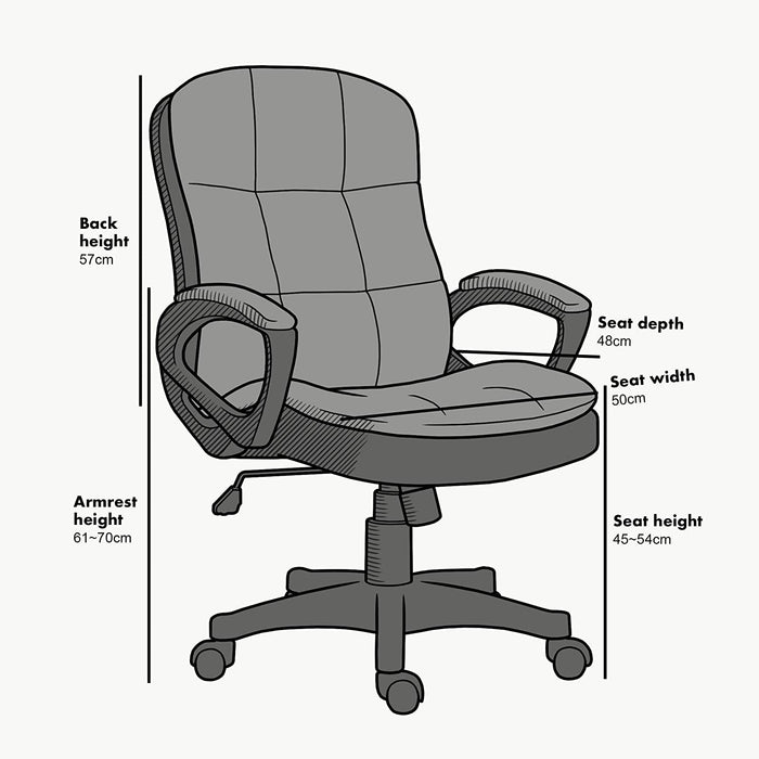 Jona Double Layer Padded Office Chair Grey 4