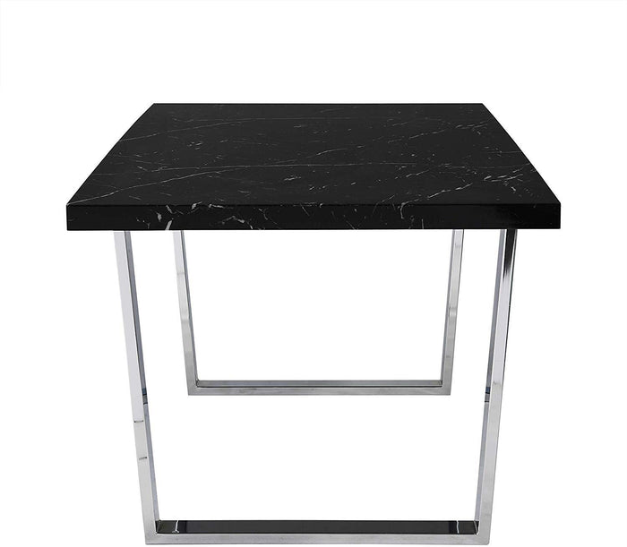 BIASCA 6-Seater High Gloss Marble Effect Dining Table with Silver Chrome Legs Black 5