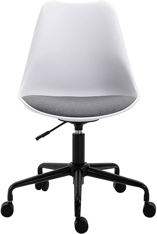 Gerri Swivel Office Chair with Upholstered Seat White 2