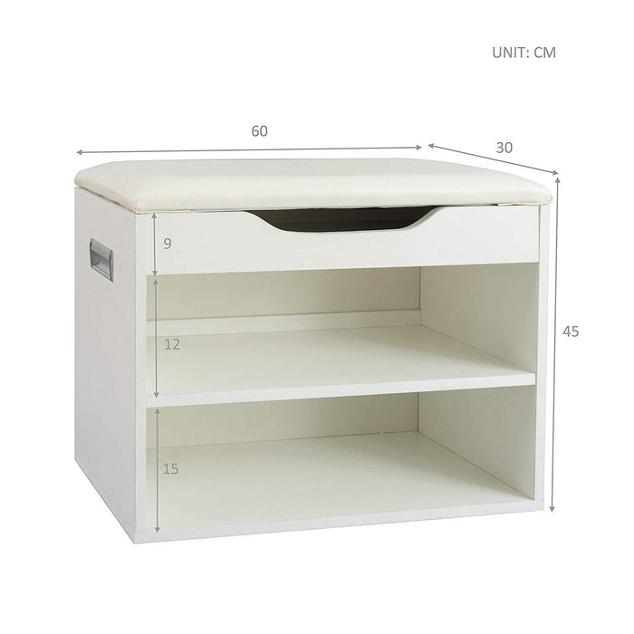 2 level shoe rack bench storage with padded seat white