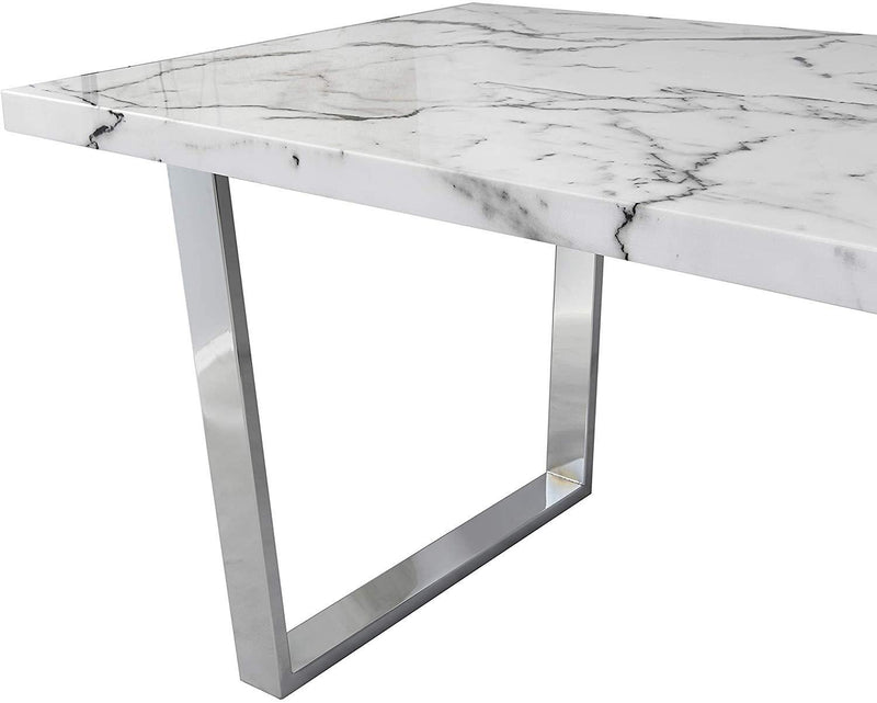 BIASCA 6-Seater High Gloss Marble Effect Dining Table with Silver Chrome Legs White 5