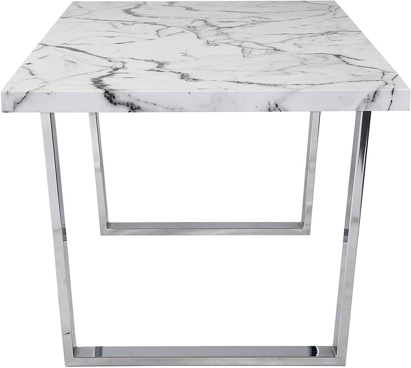 BIASCA 6-Seater High Gloss Marble Effect Dining Table with Silver Chrome Legs White 4