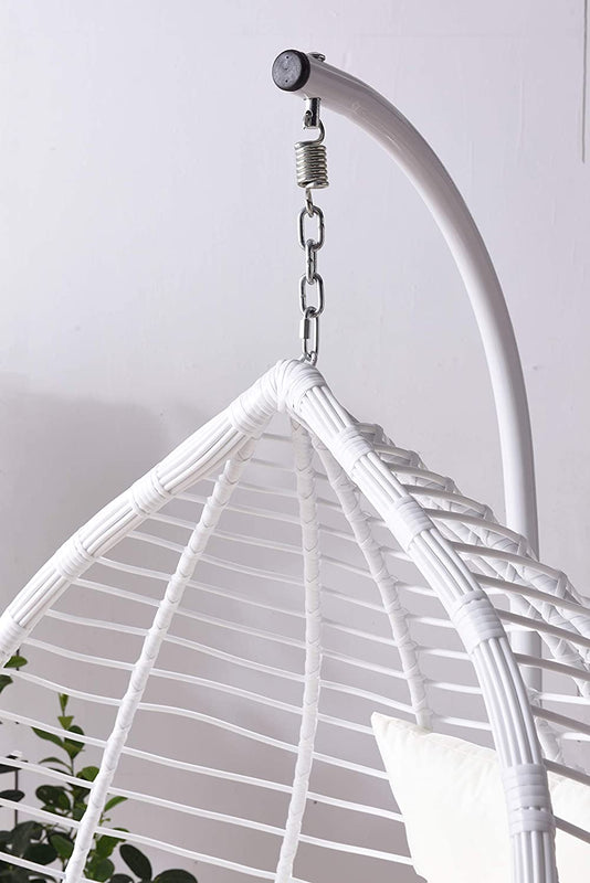 Breeze White Rattan Effect Hanging Egg Chair 6