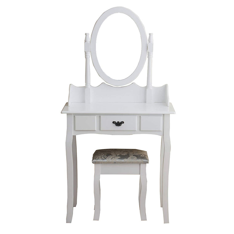1-Drawer White Dressing Table with Stool & Single Oval Mirror