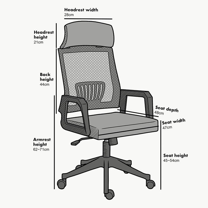 Beni Mesh Fabric Swivel Office Chair with Headrest Black 5