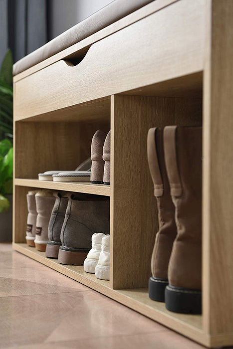 Hallway Shoe Rack Padded Bench Storage 103.5 x 29.5 x 48 cm Oak 7