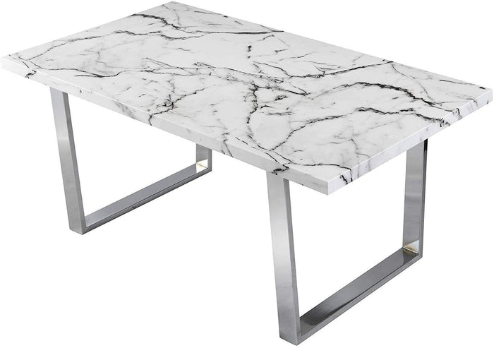 BIASCA 6-Seater High Gloss Marble Effect Dining Table with Silver Chrome Legs White 3