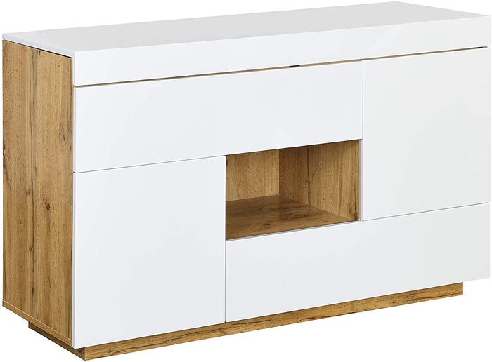 Yukon High Gloss White 2 in 1 Desk or Sideboard with Extendable Top 4