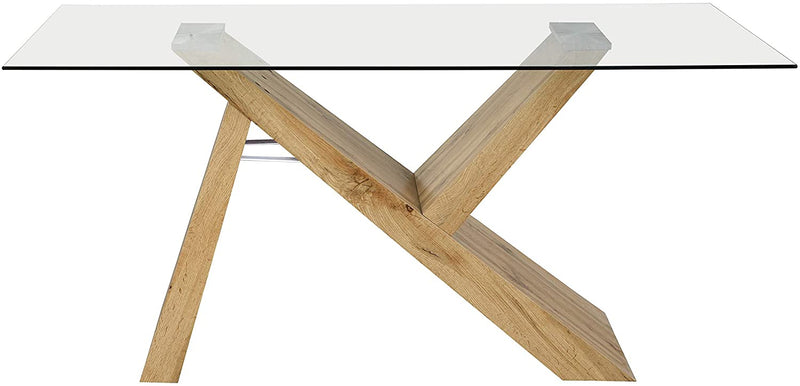 Orillia Oak Effect 160 cm Dining Table  with Clear Glass Top 4