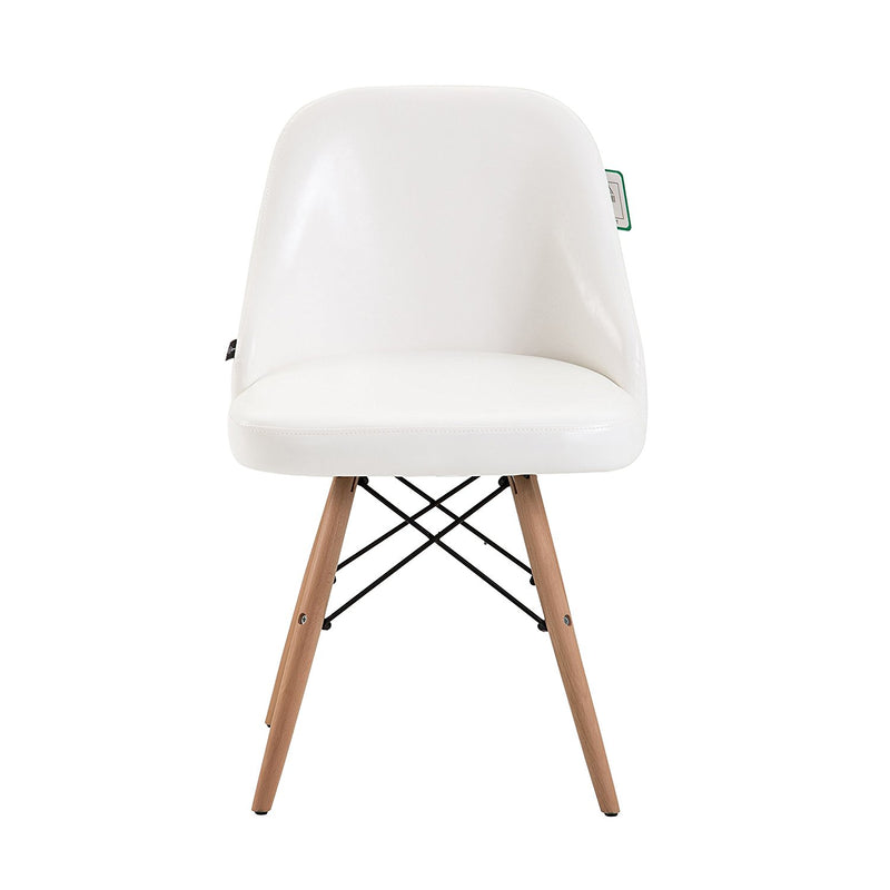 CTF Retro Modern PU Leather Padded Dining Chair Pair with Solid Legs, White