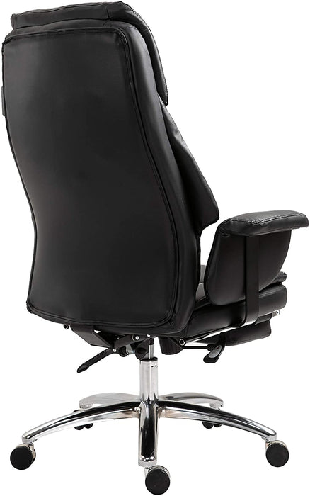 Abraham Wingback Style Office Chair with Footrest in Black PU Leather 5