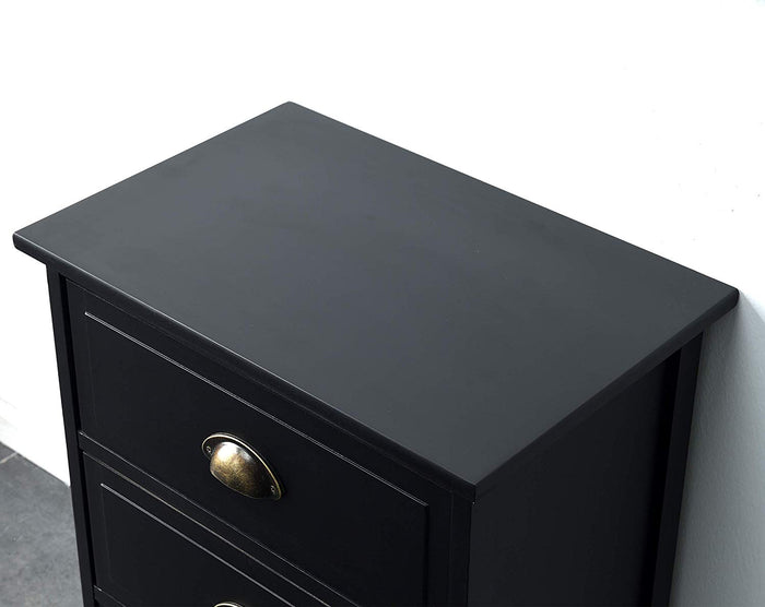 CAMROSE Wooden Chest of Drawers/Bedside Table with Metal Cup Pull Handles Black 4 Drawer 5