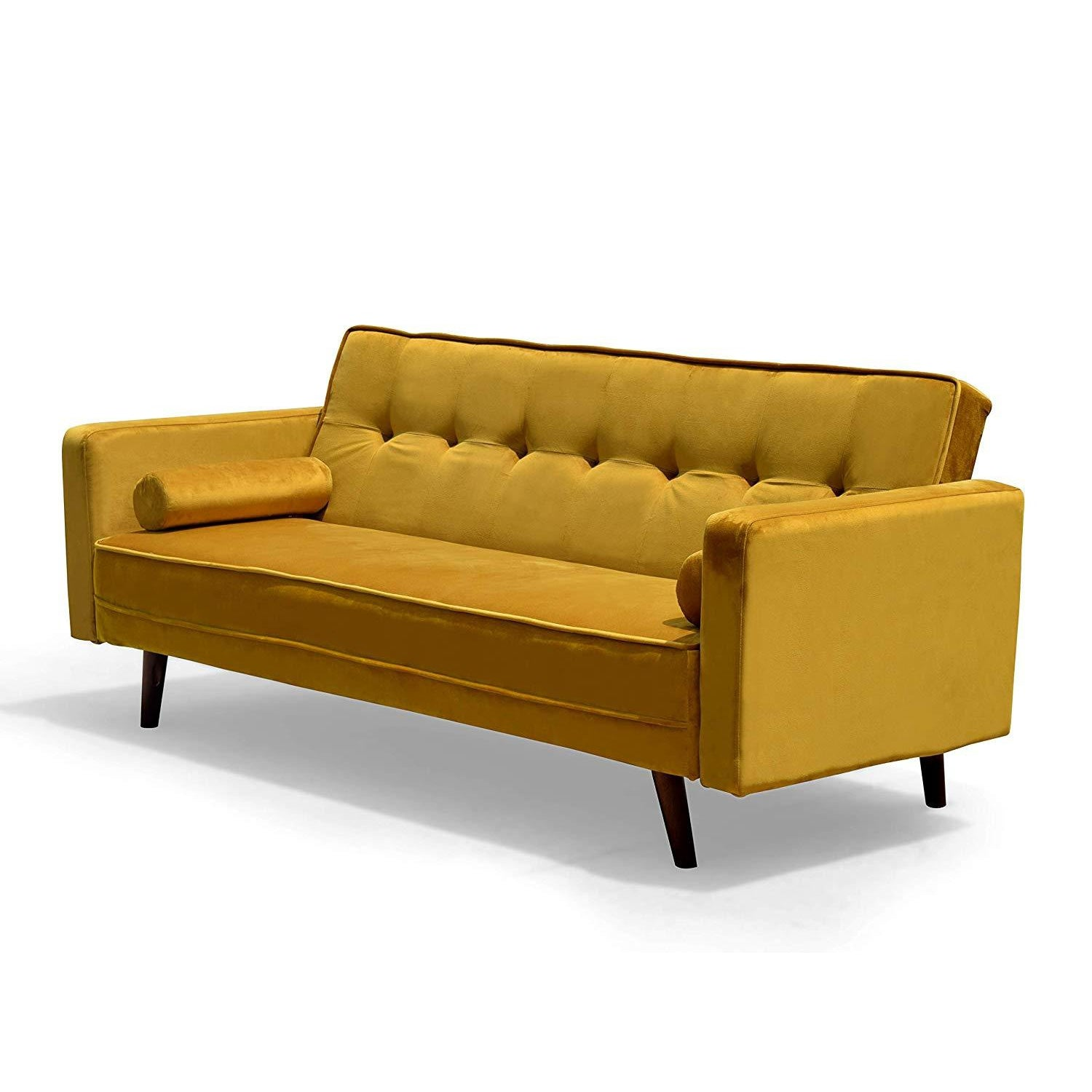 NORA 3-Seater Fabric Sofa Bed Sleeper Sofa with Cushions, Mustard Yellow Velvet