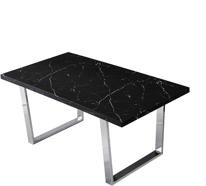 BIASCA 6-Seater High Gloss Marble Effect Dining Table with Silver Chrome Legs Black 3