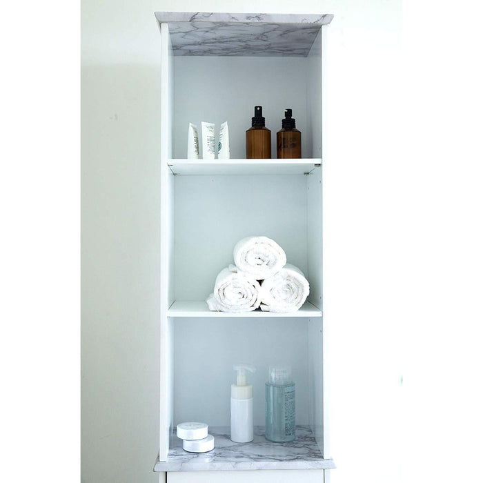 Tallboy Free Standing Bathroom Cabinet Tall Storage Unit Cupboard (White)