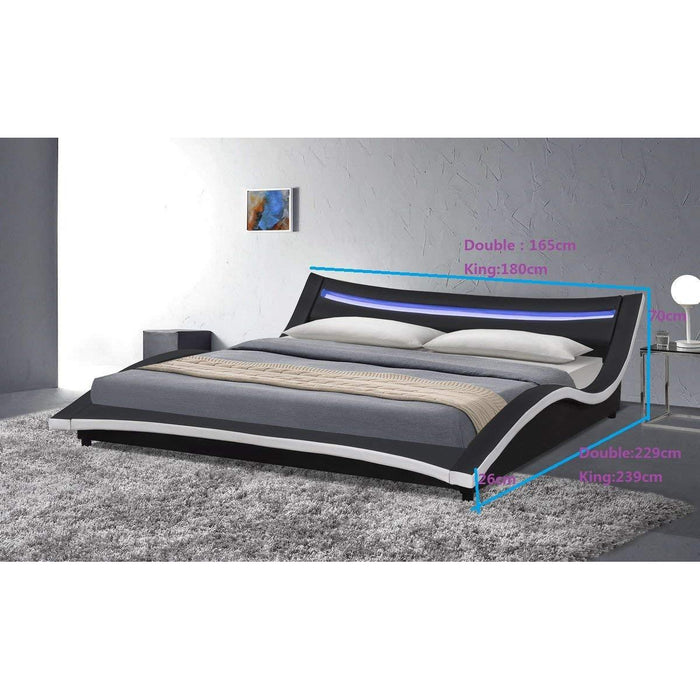 KALEEN Modern Designed Faux Leather Curved Bed with LED Headboard, Black