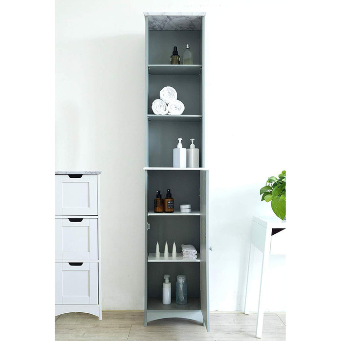 Tallboy Free Standing Bathroom Cabinet Tall Storage Unit Cupboard (Grey)