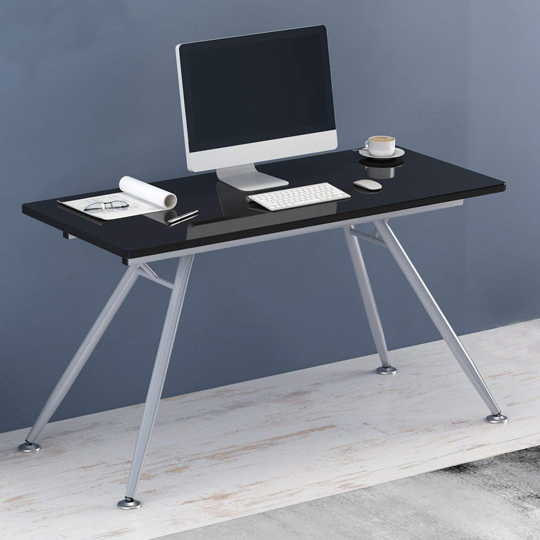 Modern Design 135 x 60 cm Glass Top Desk with Steel Frame, Black