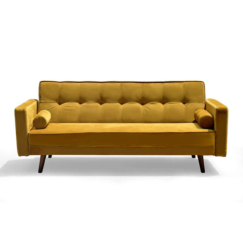 nora 3 seater fabric sofa bed sleeper sofa with cushions mustard yellow velvet