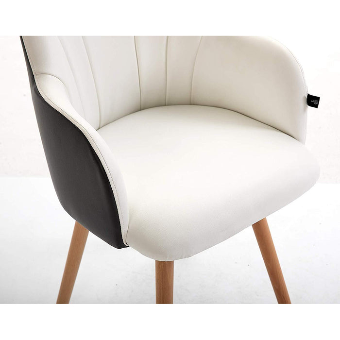 Cherry Tree Furniture White & Dark Grey Desk Chair Dining Chair with Solid Wood Legs