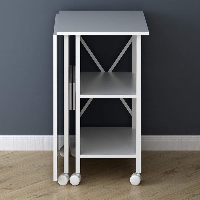 2 in 1 extending computer desk workstation table with storage shelf rolling castors white