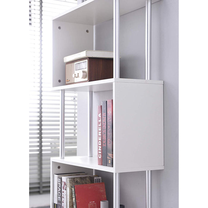 Cherry Tree Furniture FLAM Bookcase Shelving Unit Display Shelf White, 4-Layer