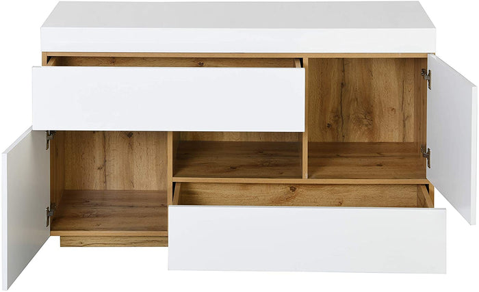 Yukon High Gloss White 2 in 1 Desk or Sideboard with Extendable Top 5